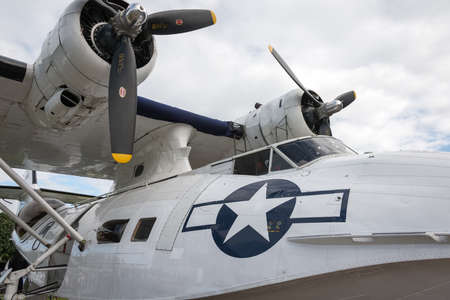 consolidated: Duxford,UK - 25 May 2014: Consolidated Catalina parked at  Duxford D-Day Airshow Editorial