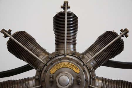 aero: Cosford, UK - 8 June 2014: Gnome vintage aero engine seen at  RAF Cosford