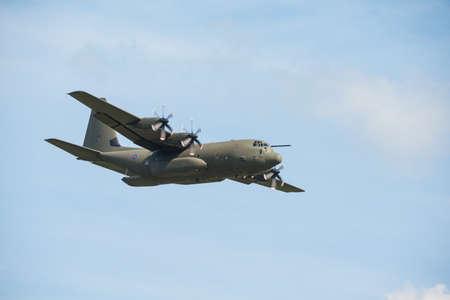 Duxford,UK - 25 May 2014: An RAF Hercules flying at  Duxford D-Day Airshow