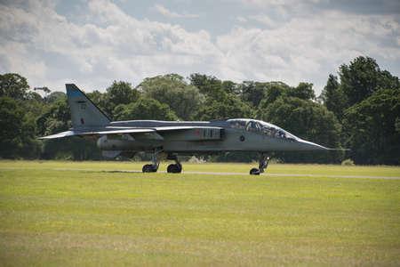 afterburner: Cosford, UK - 08 June 2014: RAF Jaguar fighter aircraft seen at RAF Cosford Airshow.