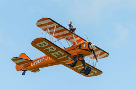 airshow: Cosford, UK - 08 June 2014: Breitling Wing Walkers display team seen at RAF Cosford Airshow.