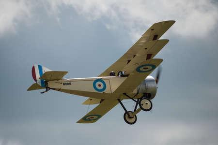 airshow: Cosford, UK - 08 June 2014: World War 1 vintage British Sopwith Triplane aircraft seen at RAF Cosford Airshow.