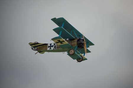 world war 1: Cosford, UK - 08 June 2014: World War 1 vintage German Fokker DR1 Triplane aircraft seen at RAF Cosford Airshow.