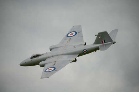raf: Cosford, UK - 8 June 2014: MidAir Squadrons  English Electric Canberra, displaying at the RAF Cosford Airshow.