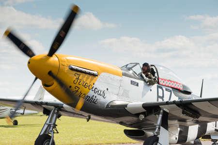 Duxford,UK - 25 May 2014: P51 Mustang at Duxford D-Day Airshow