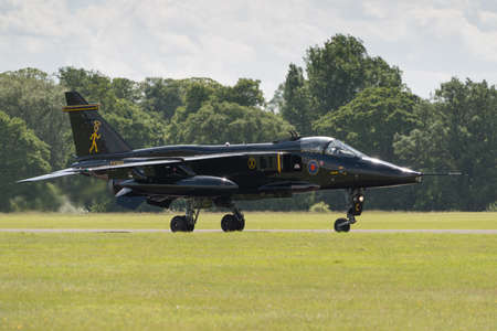 raf: Cosford, UK - 08 June 2014: RAF Jaguar fighter aircraft seen at RAF Cosford Airshow.