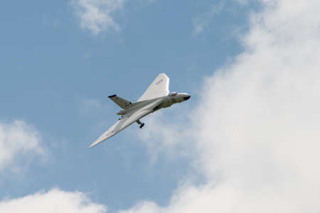 falklands war: Cosford, UK - 08 June 2014: Amazing model of Vulcan aircraft seen at RAF Cosford Airshow.