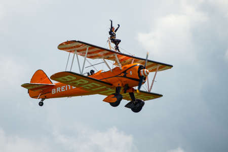 Cosford, UK - 08 June 2014: Breitling Wing Walkers display team seen at RAF Cosford Airshow.