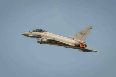 airforce: Fairford, UK - 12 July 2014: An Italian Airforce Typhoon jet displaying at the Royal International Air Tattoo.