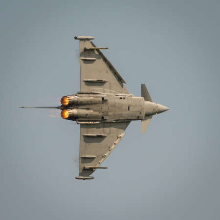 Fairford, UK - 12 July 2014: An Italian Airforce Typhoon jet displaying at the Royal International Air Tattoo.