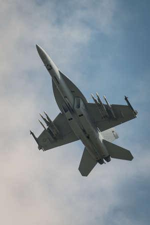 usn: Fairford, UK - 12 July 2014: A USAF F18f Super Hornet aircraft displaying at the Royal International Air Tattoo.