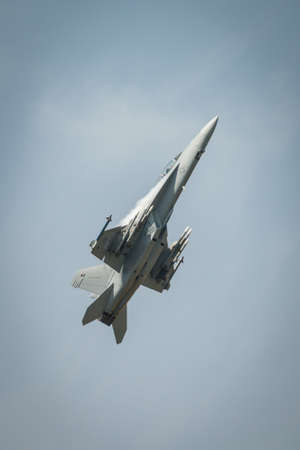 Fairford, UK - 12 July 2014: A USAF F18f Super Hornet aircraft displaying at the Royal International Air Tattoo.