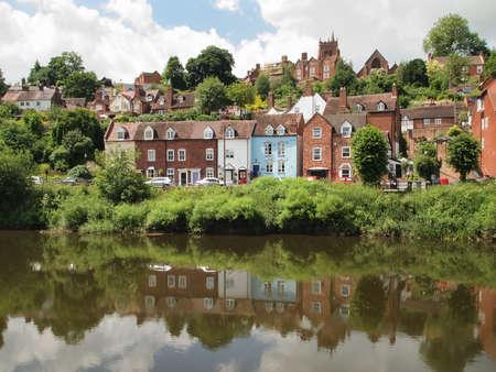 severn: Houses by the river Severn at Bridgenorth UK. Editorial