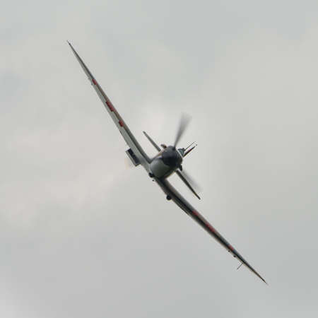 Biggleswade, UK - 29 June 2014: Vintage British Supermarine Spitfire fighter on display at the Shuttleworth Collection air show.
