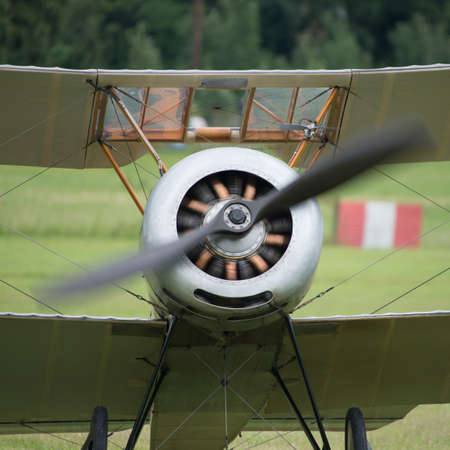 struts: Vintage rotary engine on a Sopwith Pup British fighter