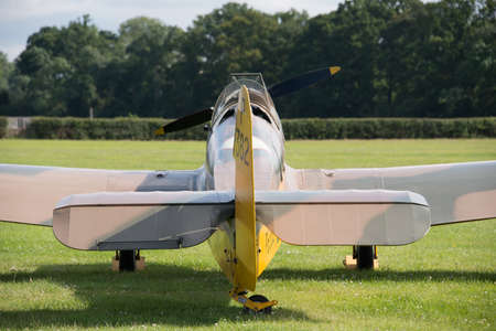 Biggleswade, UK - 29 June 2014: A vintage Miles Magister M.14 training aircraft on display at the Shuttleworth Collection museum. Editorial
