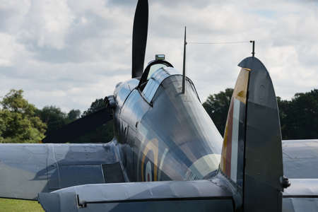 shuttleworth: Biggleswade, UK - 29 June 2014: A vintage British Hawker Sea Hurricane on display at the Shuttleworth Collection air show.