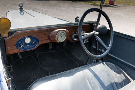 Biggleswade, UK - 29 June 2014: Interior of a vintage Jowett Type C car (1926) on display at the Shuttleworth Collection air show.