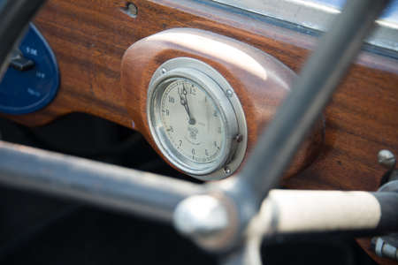 shuttleworth: Biggleswade, UK - 29 June 2014: A vintage car clock in a Jowett Type C car (1926) on display at the Shuttleworth Collection air show.