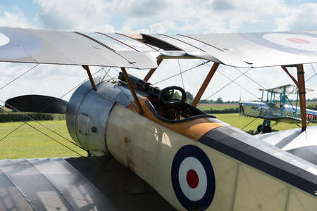 shuttleworth: Biggleswade, UK - 29 June 2014: A vintage 1916 Sopwith Pup British fighter on display at the Shuttleworth Collection air show.