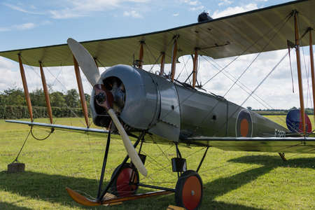 shuttleworth: Biggleswade, UK - 29 June 2014: Vintage British training aircraft Avro 504K. 1918 at the Shuttleworth Collection air show.
