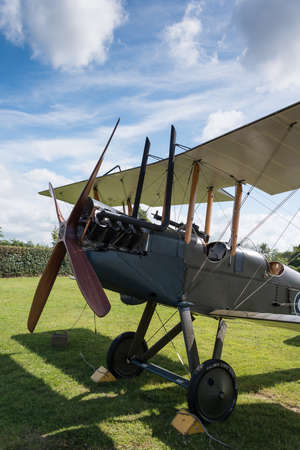 shuttleworth: Biggleswade, UK - 29 June 2014: A vintage Royal Aircraft Factory BE2c British fighter on display at the Shuttleworth Collection air show.