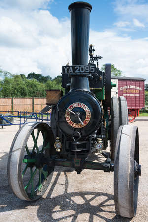 traction engine: Biggleswade, UK - 29 June 2014: Vintage 1914 Clayton and Shuttleworth Covertible Traction Engine on display at the Shuttleworth Collection air show. Editorial