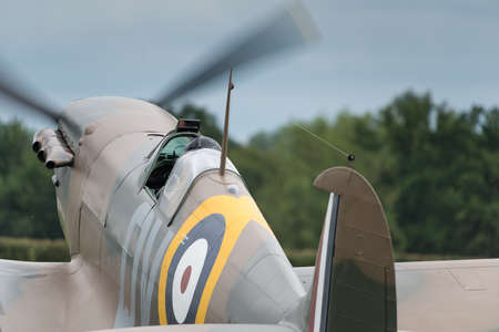 britan: Biggleswade, UK - 29 June 2014: Vintage British Supermarine Spitfire fighter on display at the Shuttleworth Collection air show.