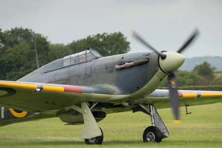 Biggleswade, UK - 29 June 2014: A vintage British Hawker Sea Hurricane on display at the Shuttleworth Collection air show.