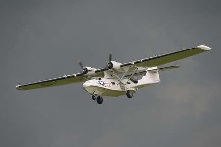 warbirds: Biggleswade, UK - 29 June 2014:  Consolidated Catalina  PBY5A, Miss Pickup at the Shuttleworth Collection air show.