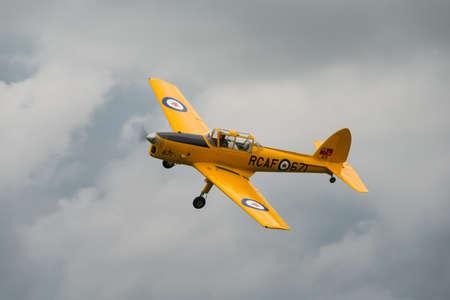 shuttleworth: Biggleswade, UK - 29 June 2014: A vintage British De Haviland Chipmunk T.22 on display at the Shuttleworth Collection air show. Editorial