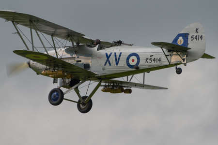 Biggleswade, UK - 29 June 2014: A  vintage  Hawker Hind bi-plane on display at the Shuttleworth Collection air show.