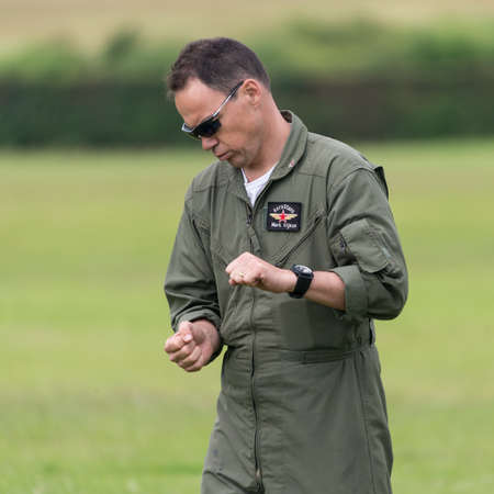 Biggleswade, UK - 29 June 2014: Pilot Mark Rijkse performs a ground walk through of the Aerostars team display at the Shuttleworth Collection air show. Editorial