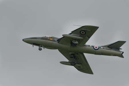 airpower: Biggleswade, UK - 29 June 2014:  Vintage British Hawker Hunter T7 at the Shuttleworth Collection air show.