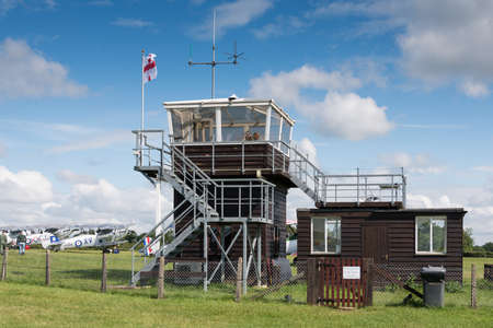 control tower: Biggleswade, UK - 29 June 2014: The control tower at the Shuttleworth Collection air show.