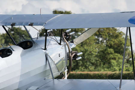 Biggleswade, UK - 29 June 2014: A vintage  Hawker Tomtit bi-plane on display at the Shuttleworth Collection air show. Editorial