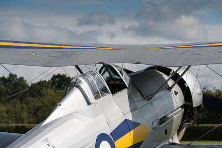 shuttleworth: Biggleswade, UK - 29 June 2014: A  vintage  Gloster Gladiator bi-plane on display at the Shuttleworth Collection air show.