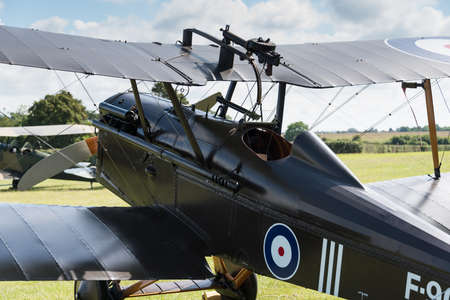 shuttleworth: Biggleswade, UK - 29 June 2014: A vintage RAF SE5a British fighter on display at the Shuttleworth Collection air show.