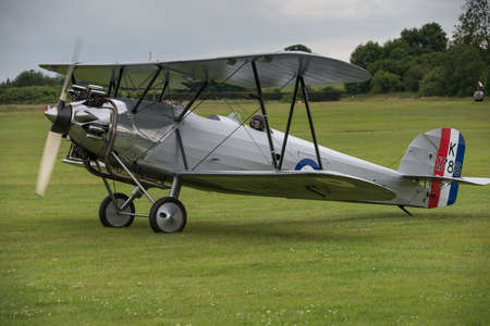 shuttleworth: Biggleswade, UK - 29 June 2014: A vintage  Hawker Tomtit bi-plane on display at the Shuttleworth Collection air show. Editorial