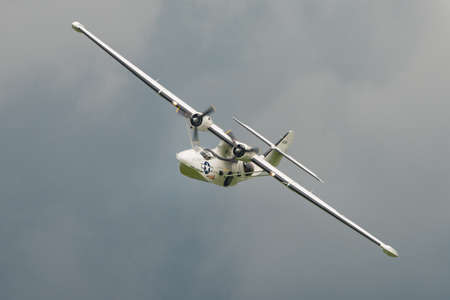 shuttleworth: Biggleswade, UK - 29 June 2014:  Consolidated Catalina  PBY5A, Miss Pickup at the Shuttleworth Collection air show.