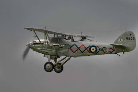 shuttleworth: Biggleswade, UK - 29 June 2014: A  vintage  Hawker Demon bi-plane on display at the Shuttleworth Collection air show.