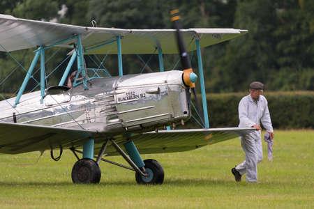 shuttleworth: Biggleswade, UK - 29 June 2014: Vintage 1932 Blackburn B2 British bi-plane at the Shuttleworth Collection air show. Editorial