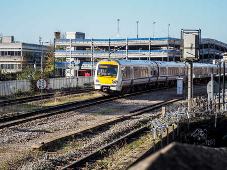 the entering: High Wycombe Railway Station, UK, with train entering platform