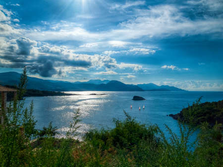 mediteranean: Tranquil Mediteranean bay with sailing boats