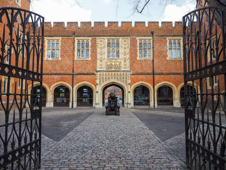 tudor: Eton, UK -25 March 2015: Cannon Yard opposite the library at the historic Eton Public School.
