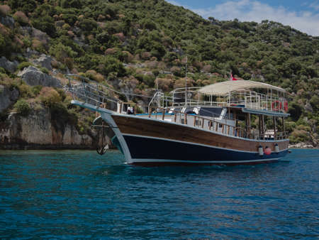 mediteranean: Turkish pleasure boat cruising near Kalekoy, Southern Turkey.