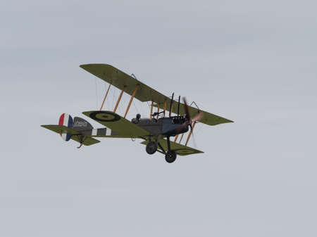vickers: Duxford, UK - May 23rd 2015: Vintage British Royal Aircraft Factory BE2 Biplane of First World War, displaying at Duxford VE Day Airshow Editorial