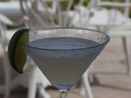 thirst quenching: Thirst quenching Margarita Cocktail with salt on rim of glass.