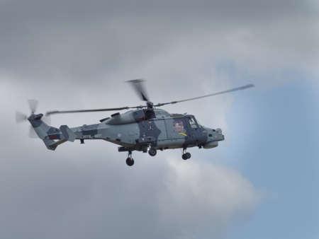 mk: Yeovilton, UK - 11th July 2015: Lynx Mk 8 helicopter flying at Yeovilton Air Day. Editorial