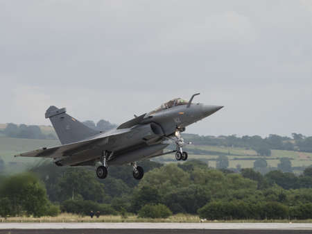 interceptor: Yeovilton, UK - 11th July 2015: French Rafale fighter jet flying at Yeovilton Air Day. Editorial